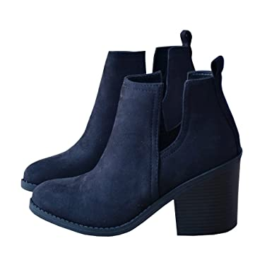 Womens Casual Pointed Toe Slip On Side Cut Out Low Heel Western Ankle Booties