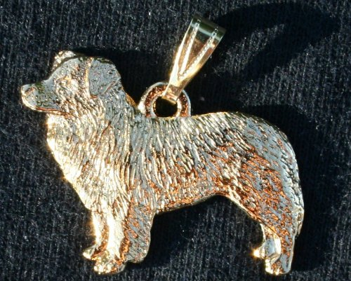 Border Collie Dog 24k Gold Plated Pewter Pendant by George Harris