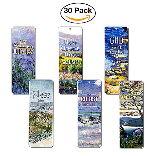 Christian Bookmarks - In Christ Alone (30-Pack) - Gift Ideas for Sunday School, Youth Group, Church Camp, Bible Study, Cell Group - Easter Day, Thanksgiving, Christmas - Prayer Cards - War Room Decor