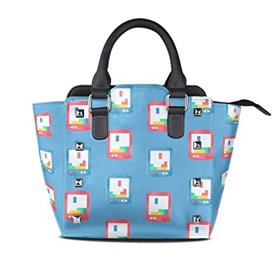 FAJRO - Tetris pintada a mano para mujer, bolsos y monederos ...