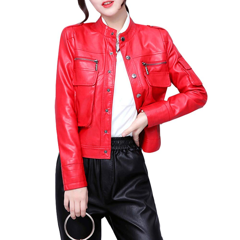 Red LINGMIN Women's Button Down Faux Leather Jacket Splicing Pockets Bomber Moto Biker Coat