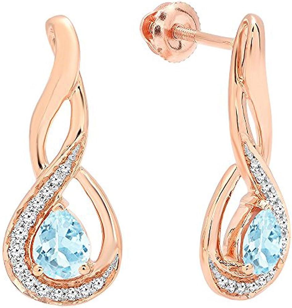 18K Rosa Oro 5x 4mm cada pera Gemstone y infinito de diamante redondo pendientes de gota