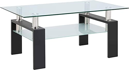 Glass Coffee Table Modern Clear Tempered Rectangle Tables