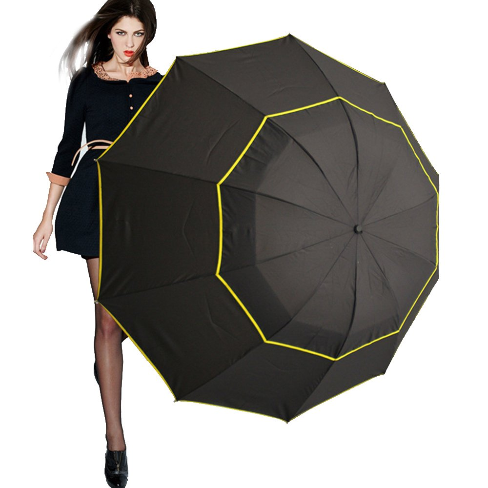 Edear 60 Inch Portable Oversize Large Compact Golf Umbrella for Travelling-Black