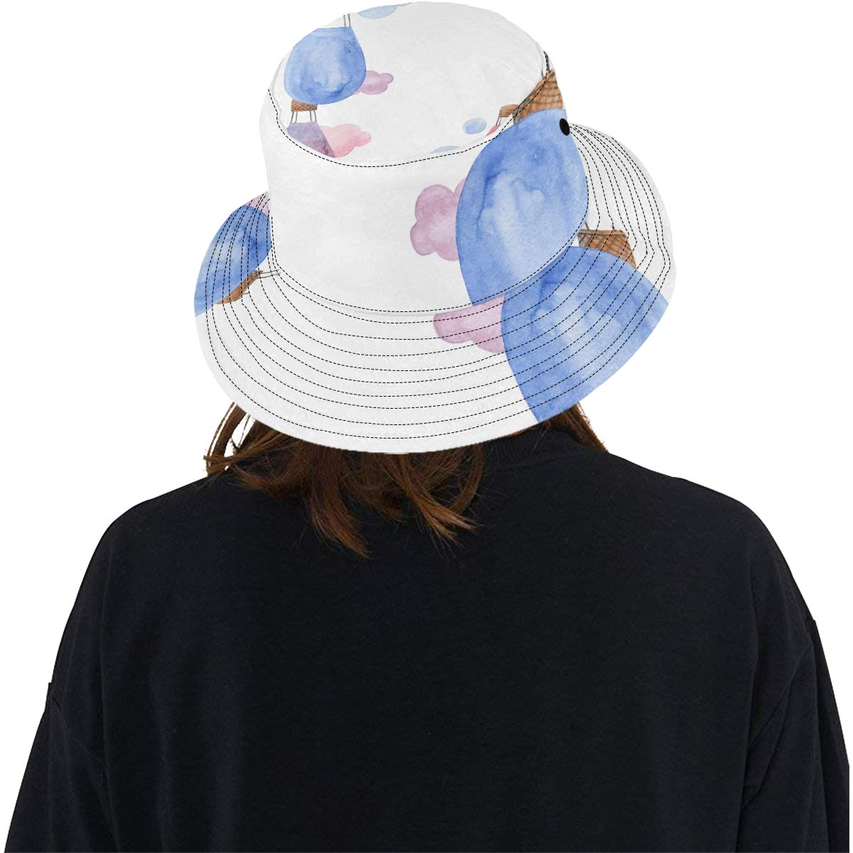 Cartoon Love Air Ballon New Summer Unisex Cotton Fashion Fishing Sun Bucket Hats for Kid Women and Men with Customize Top Packable Fisherman Cap for Outdoor Travel Teens