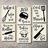 Home Decor Funny Gift 6 Kitchen Wall Art Prints Kitchenware with Sayings 8'x10' Unframed Farmhouse Home Office organization Signs Bar Accessories Decorations sets white house Deco Kitchen Decor