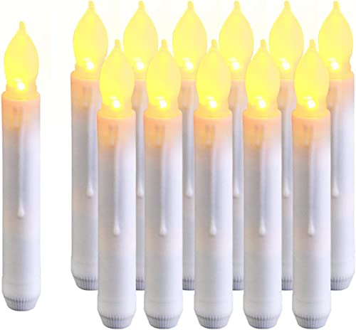 Amagic 12PCS Harry Potter Floating Candles, 6.9 Inch Flameless LED Taper Candle Lights, Battery Operated Candlesticks for Party Classroom Church Birthday Halloween Decorations, Warm White, Handheld