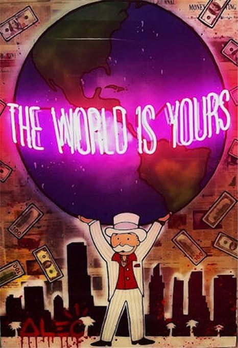 Artzhu-Alec Monopoly The World Is Yours Graffiti Pintura al óleo pintada a mano sobre lienzo para sala de estar, arte abstracto moderno para pared # 114: Amazon.es: Amazon.es