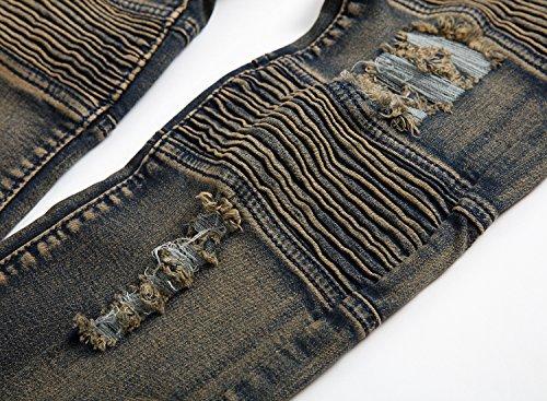 Moda Casual Stretch Pantalones Slim Hombres Parche Jeans Destruido Pantalones Gris 1 Denim Vaqueros Fit Agujeros Con Cobre Vintage dvpUUxzw