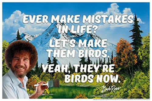 Bob Ross Ever Make Mistakes in Life Quote Motivational Painting Cool Wall Decor Art Print Poster 36×24