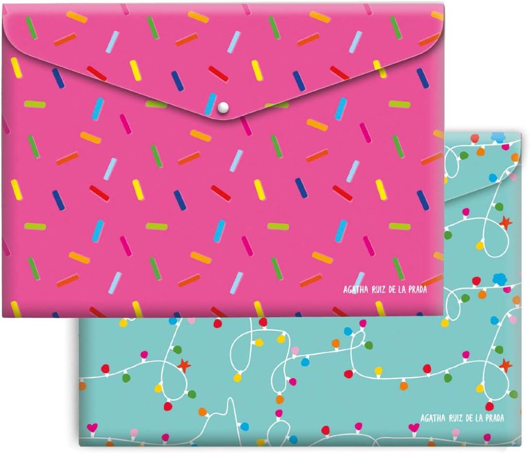 Agatha Ruiz de la Prada Pack 4 sobres A4 Polipropileno Caramelos & Luces