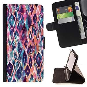 BullDog Case - FOR/HTC One M9 / - / animal pattern watercolor art peach /- Monedero de cuero de la PU Llevar cubierta de la caja con el ID Credit Card Slots Flip funda de cuer