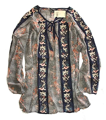 Lucky Brand Women's Plus Size Floral Embroidered Peasant Top, Blue/Multi, 2X