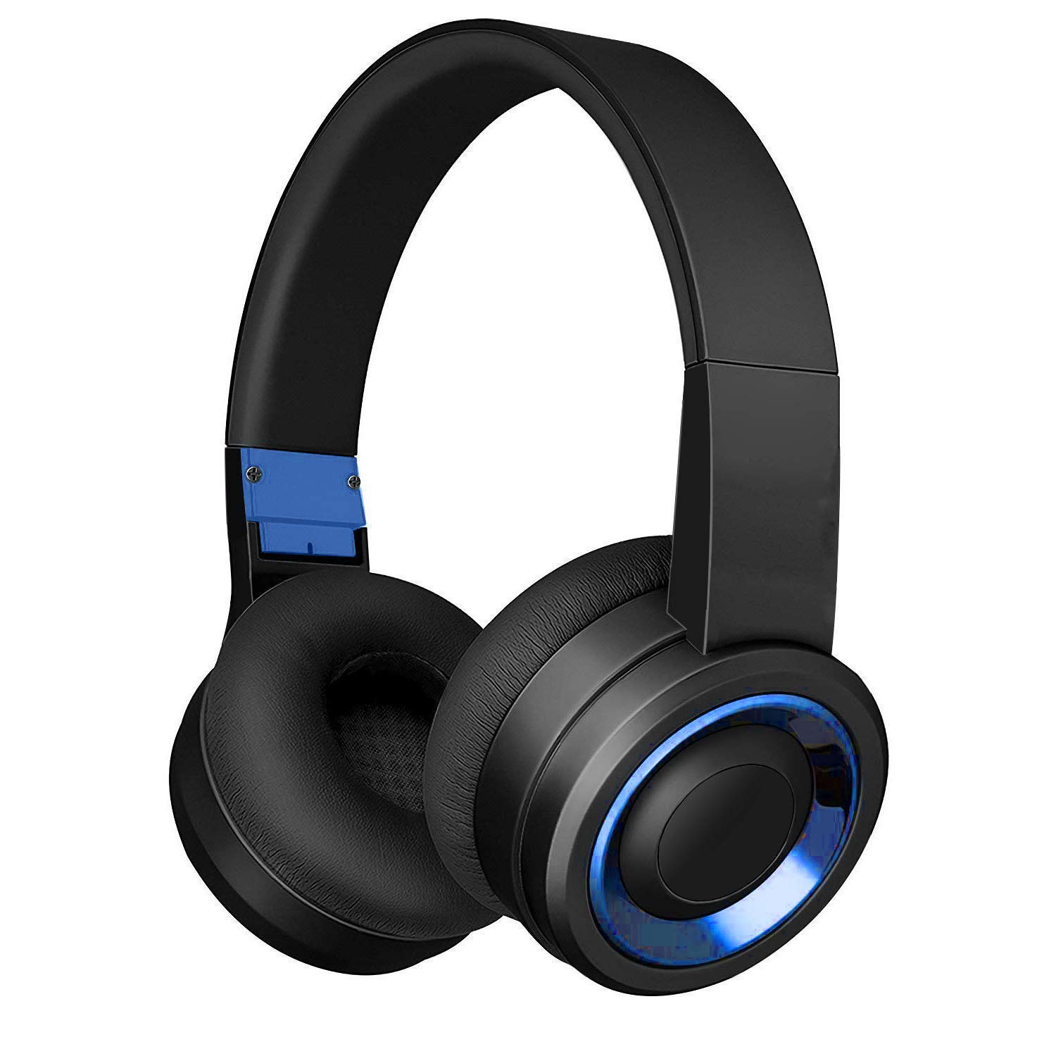 Bluetooth Headphones with Built-in Mic, Wireless and Wired Over-Ear Headset with Comfortable Earpad for PC, Tablets and Smartphones Black Blue