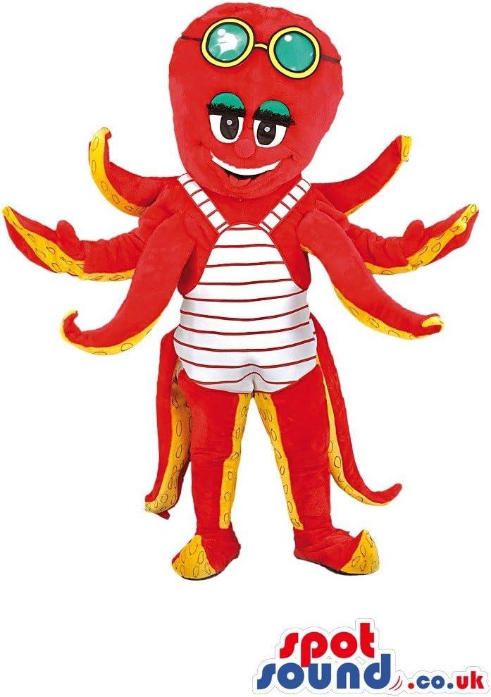 Pulpo nos SpotSound mascota disfraz en color rojo con ocho ...