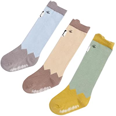 3-Pack Unisex Baby Socks Baby Stockings Baby Girls Socks Knee High Socks Anti-Slip Baby High Stockings