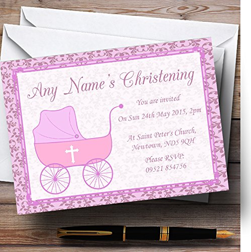 Girl Pink Pram Christening Party Personalized Invitations Personalized Christening Invitations