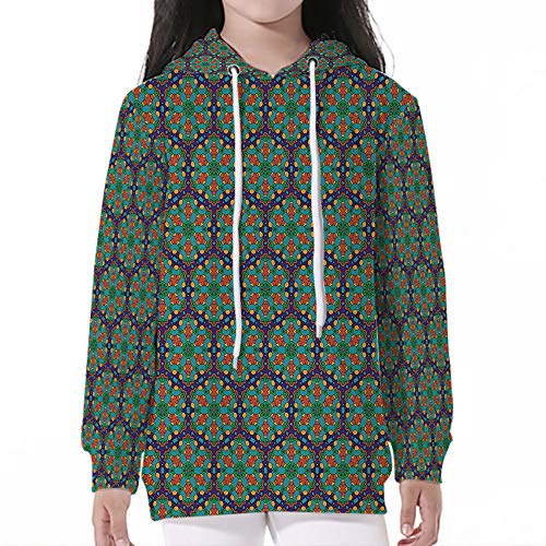 Young Boy Girl Kids,Turquoise,Spider Web Inspired Floral Detailed Image on Blu ()