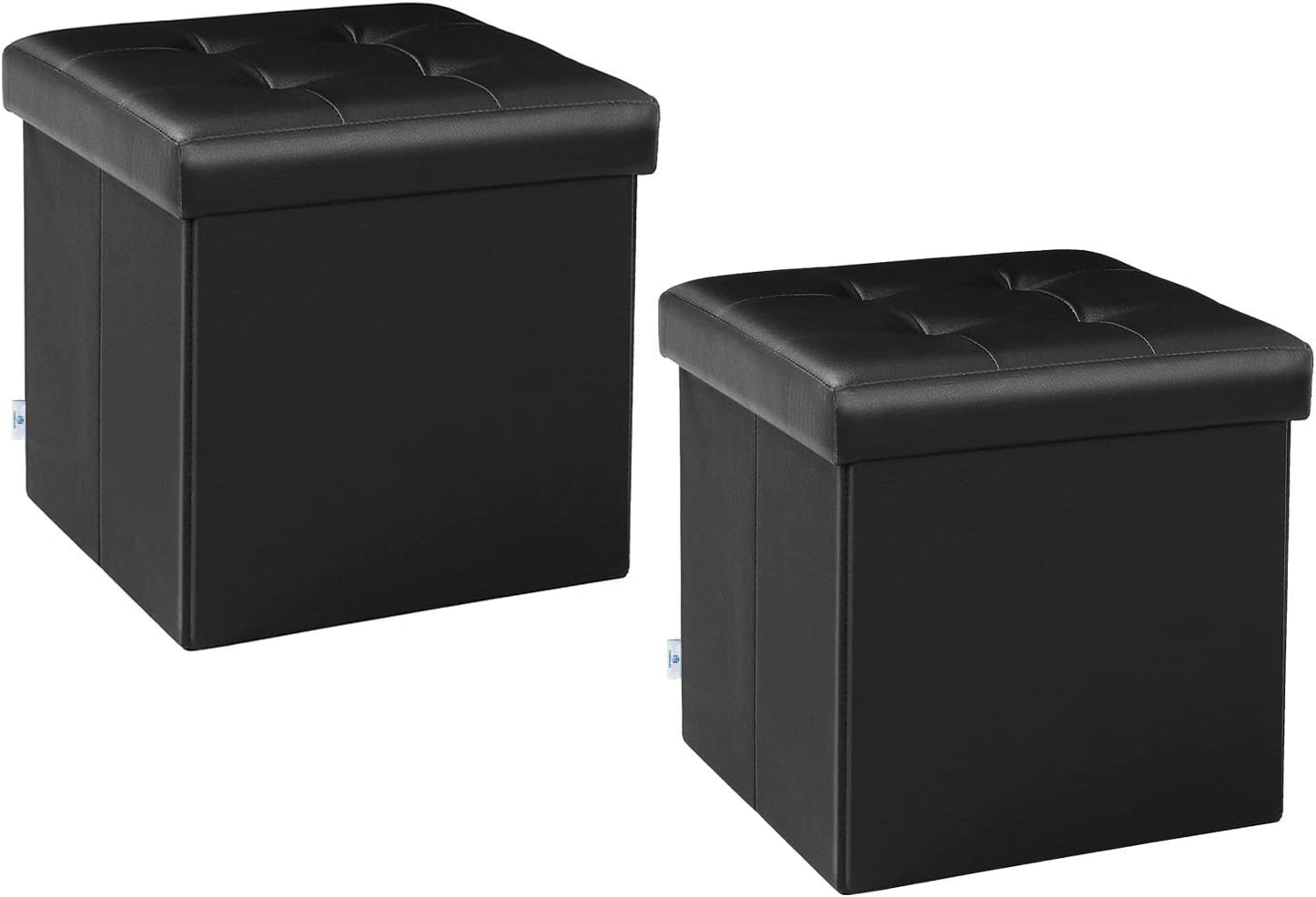 """B FSOBEIIALEO Storage Ottoman Small Cube Footrest Stool Seat Faux Leather Toy Chest Black 12.6""""X12.6""""X12.6"""" (2 Pack)"""