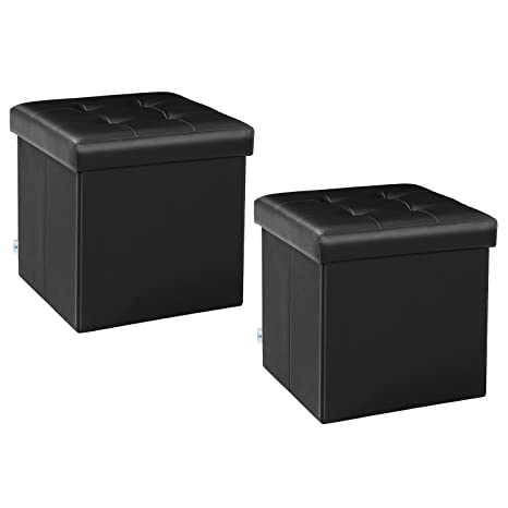 Phenomenal B Fsobeiialeo Storage Ottoman Small Cube Footrest Stool Seat Faux Leather Toy Chest Black 12 6X12 6X12 6 2 Pack Onthecornerstone Fun Painted Chair Ideas Images Onthecornerstoneorg
