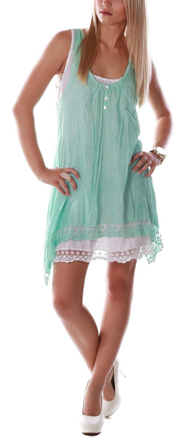 Romantisches Sommerkleid Strandkleid Spitze (Mintgrün)
