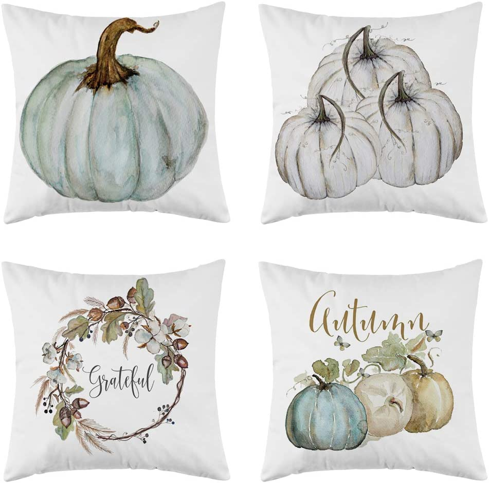 WFLOSUNVE Halloween Thanksgiving Pumpkin Fall Throw Pillow Covers Pack of 4 18x18 Inch, Soft Short Plush Autumn Decorative Pillow Case Cushion Cover for Couch and Sofa