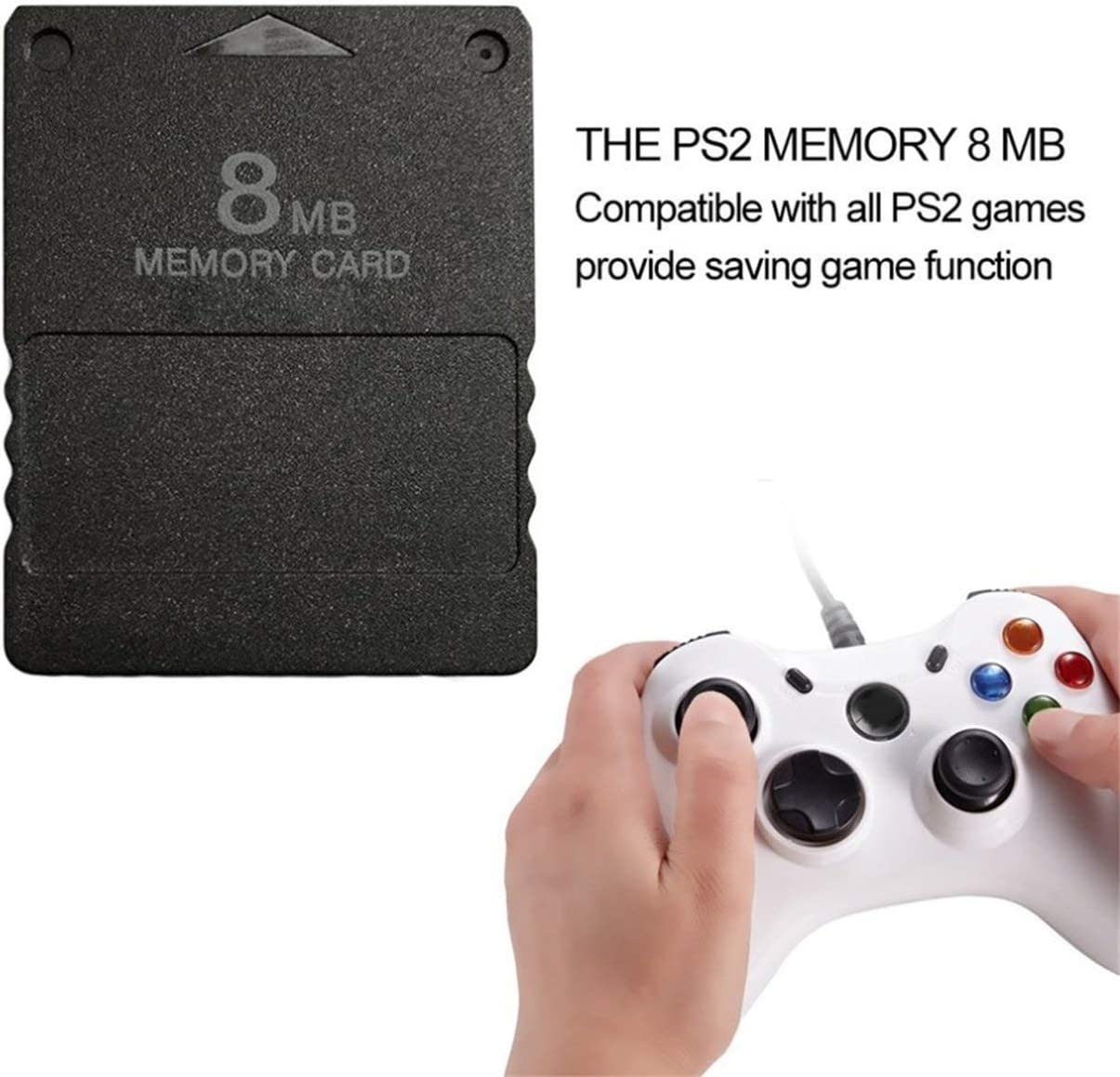 Jullynice Compact Design Black 8MB Memory Card Memory Expansion Card Suitable for Playstation 2 PS2 Black 8MB Memory Card