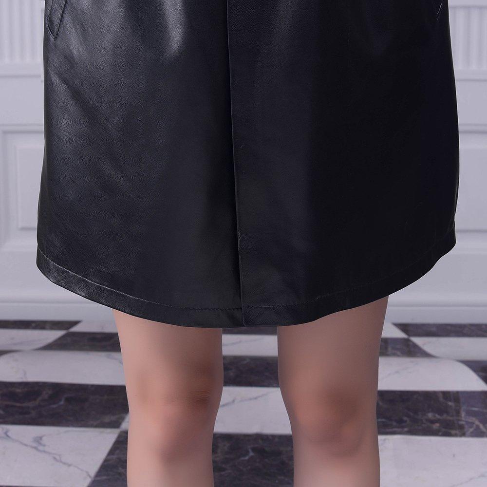 Jiashibao Women Pure Sheep Leather Short Jumpsuits V-Neck Elastic Waist Wide Legs Black Shorts Overalls (XL) by Jiashibao (Image #8)