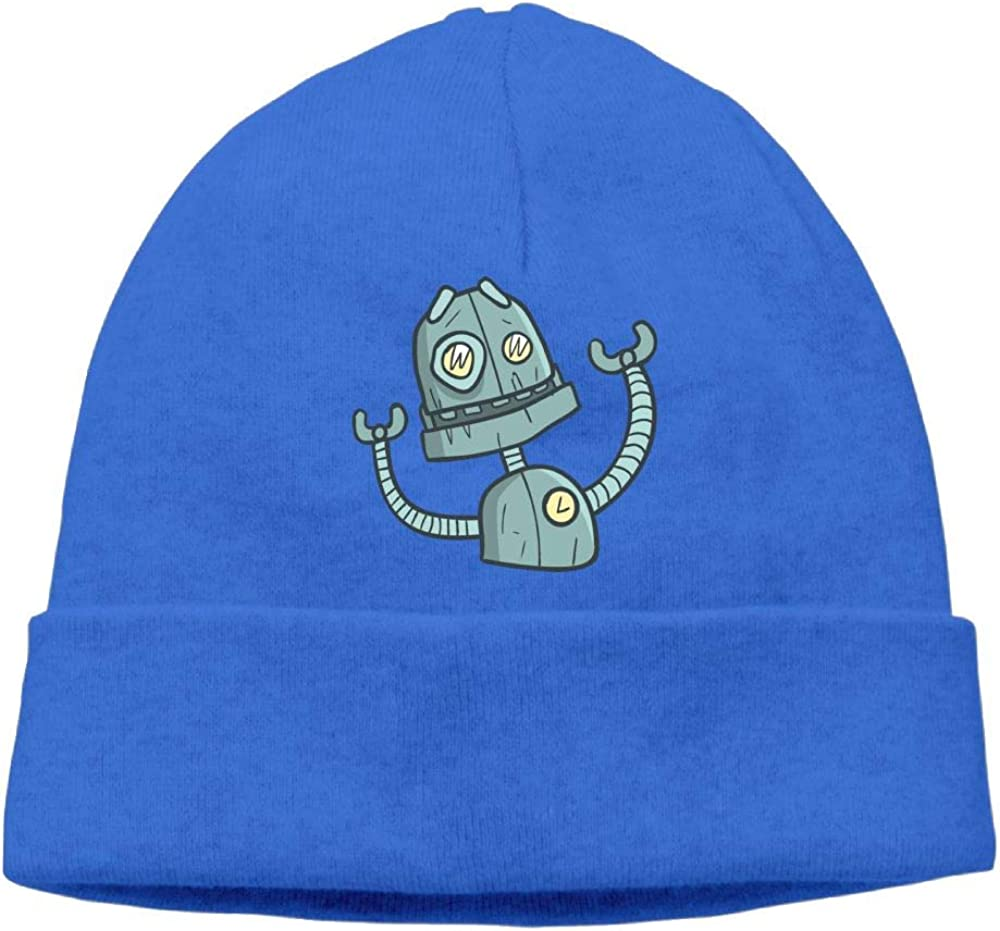 Oopp Jfhg Beanie Knit Hat Skull Caps Blue Cute Robot Men