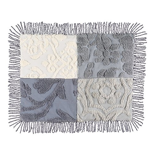 Collections Etc Grey Patch Chenille Pillow Sham with Fringe Trim, Grey Multi, Sham (Chenille Sham)