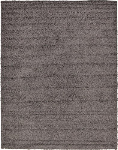Unique Loom Solo Solid Shag Collection Modern Plush Graphite Gray Area Rug (10' 0 x 13' 0) ()