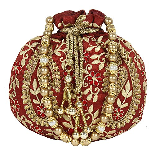 Colour Maroon Womens Embroidery For Purse Collection Purse Floral Beautiful Potli ZnqXwFI
