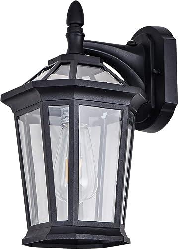 Dusk to Dawn Sensor Wall Lantern Outdoor Light Fixtures Wall Mount Waterproof Anti-Rust Matte Black Outside Yard Sconce