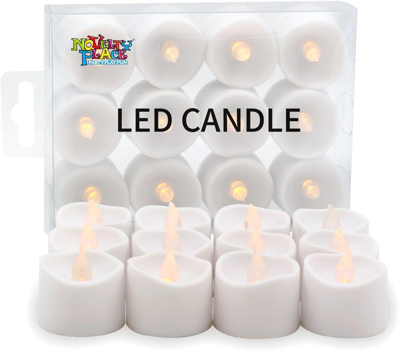 Pack de 12 Novelty Place M/ás Larga bater/ía de Larga Operado El Parpadeo del LED sin Llama votiva Velas