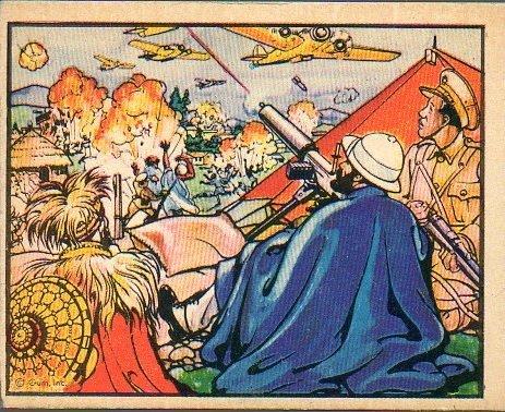 1938 Gum Inc Horrors of War (Non-Sports) Card# 46 Haile Selassie Mans a machine gun VG Condition