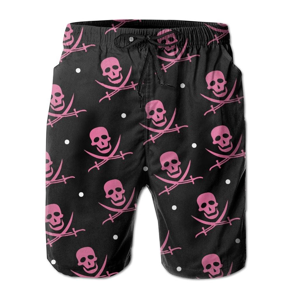 Bing4Bing Red Skull Jolly Roger Summer Fast Dry Beach Mens Board Shorts