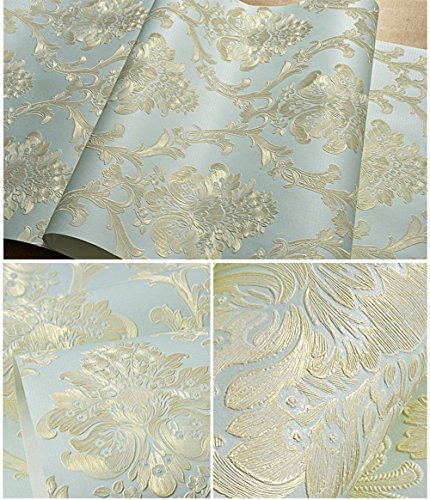 Removable Peel and Stick Damask Wallpaper Mural Roll Prepasted Self Adhesive Non-woven Fabric Home Decor Wall Paper (Victorian Contact Paper)