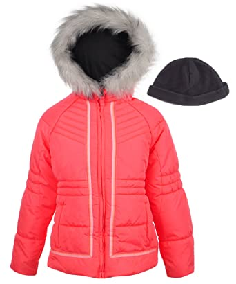 15a8e689656 Amazon.com  London Fog Girls  Big Hooded Puffer Jacket with Hat  Clothing