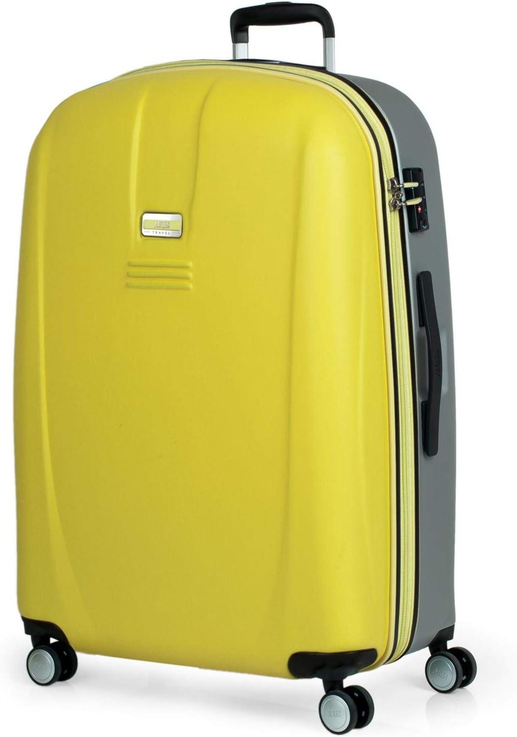 JASLEN - Maleta Grande XL Rígida 4 Ruedas Trolley 77 cm ABS. Duradera Resistente y Ligera. Candado TSA. Viajes Largos. Marca de Calidad. Estudiantes y Profesionales. 56570, Color Amarillo-Plata