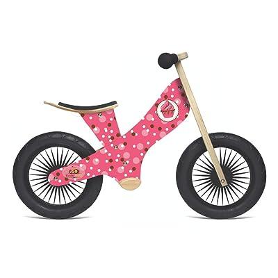 Kinderfeets Retro Wooden Balance Bike, Classic Kids Training No Pedal Balance Bike, Cupcake: Toys & Games