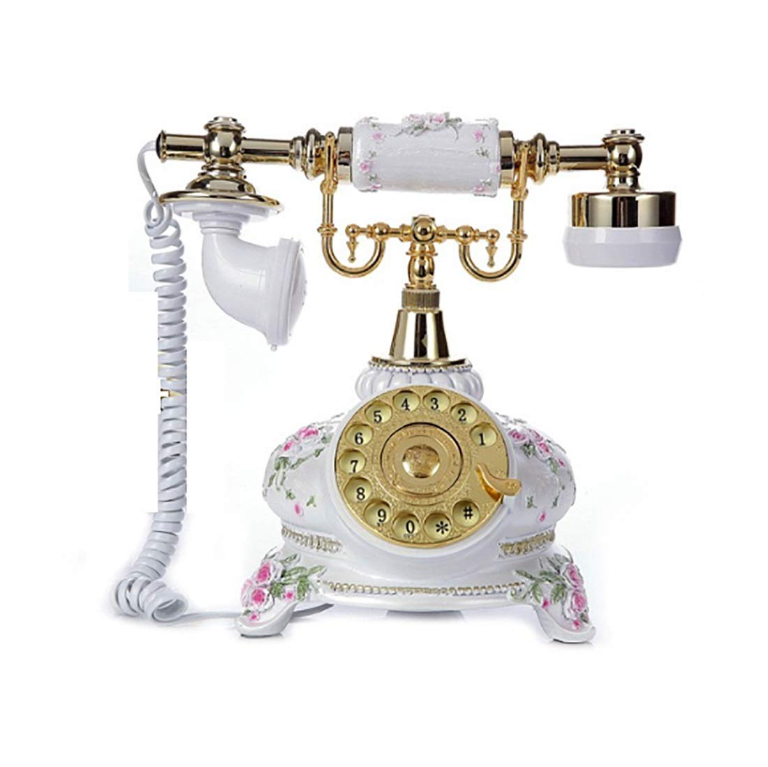 ZHILIAN Classic European Retro Rural Style Home Phone Landline Simple Pattern Dotted Decorative Telephone Line Telephone