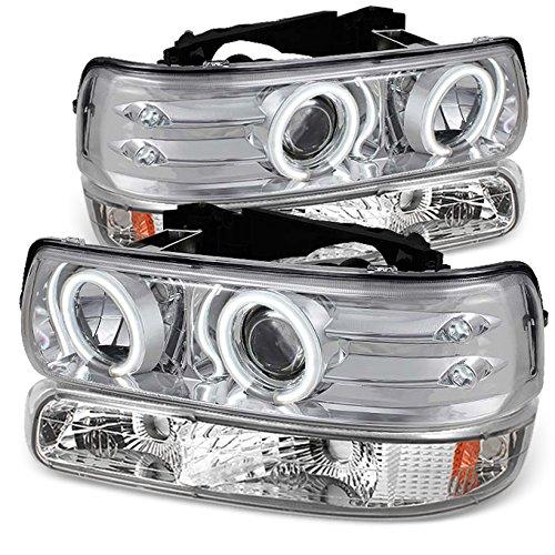 For Chrome 99-02 Silverado | 00-06 Suburban/Tahoe | CCFL Halo Projector LED Headlight+ Bumper Signal Lights