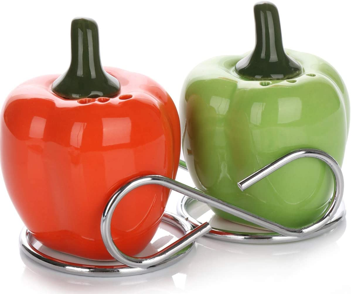Cute Collectible Ceramic Salt and Pepper Shakers Set   Vintage Shabby Chic Décor Gifts   Farmhouse Style Decorative Dispensers   Southwest Garden Vegetable Decorations (Red & Green Bell Peppers)