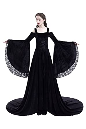 CHECKIN Womens Medieval Lace Trumpet Sleeves Costume Retro Renaissance Gothic Lace up Dress Suit (Small