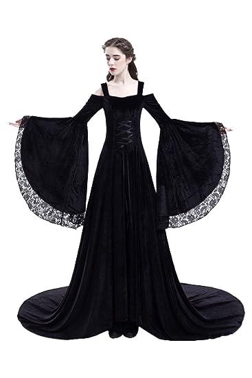 tianxinxishop Vestido de Traje Medieval sin Hombros Vestido Renacentista para Mmujer Vestido Largo de Estilo Victoriano Gotico con Manga Larga de ...