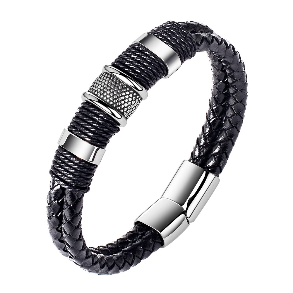 Men Genuine Leather Bracelet Stainless Buckle Multi-layer Braided Black Wrist Cuff Fashion Bangle8''-8.7''