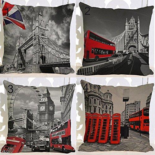 Bridge Linen - Retro United Kingdom London Red Phone Booth London Eye Tower Bridge Cotton Linen Square Throw Waist Pillow Case Decorative Cushion Cover Pillowcase Sofa 18
