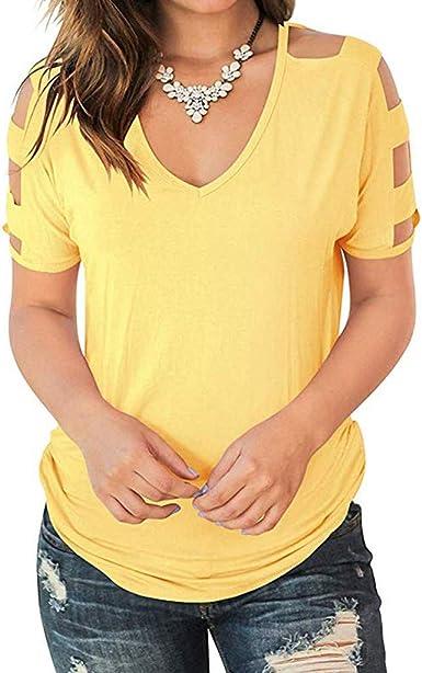 Luckycat Casual Camiseta para Mujer Cuello en V Atractivas tee Encaje Top Sueltos Blusa Camisa con Manga Corta para Mujer Hipster Mujer Moda Camisetas Cuello Redondo en Contraste Poliéster T-Shirt: Amazon.es: Ropa