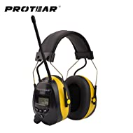 Protear Bluetooth & Radio AM/FM Ear Protector Hearing Protection Safety Earmuffs with Digital Display for Working Mowing, Certified NRR 25dB