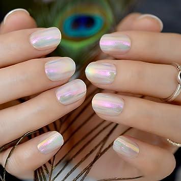 Lot de 24 holographique arc,en,ciel court Faux ongles ronde complète  enroulée Gel UV Vernis à ongles en acrylique pour décoration Z856